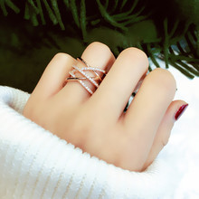 European and American exaggerated personality ring ring ring cross multi-layer joint ring ring end ring index finger Korean ring
