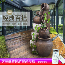 European style pottery, pottery, water fountain, ornaments, living room, fengshui, humidifier, decoration, balcony, floor decoration.