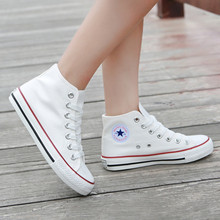 Autumn white high top breathable flat bottom casual canvas shoes