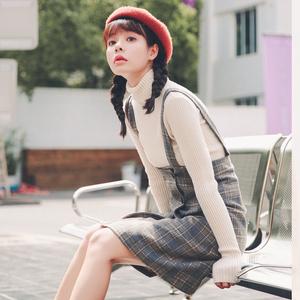 2017秋冬新款韩版套装两件套裙子学生毛呢格子背带裙吊带连衣裙女女装套装