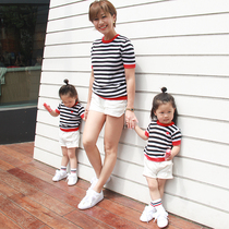 KiviViki Junko high-end childrens clothing summer striped knit short sleeve loose girls fashion leisure fun blouse