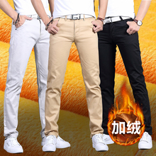 Autumn and winter Plush trend tooling thickened straight tube slim casual pants