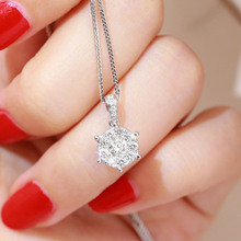 Baisheng jewellery diamond pendant group with one carat effect clavicle chain female 18K platinum six claw diamond necklace
