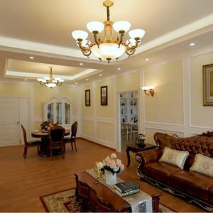 欧式全铜吊灯美式复古云石客厅灯饰简欧大气卧室灯新中式餐厅铜灯复古吊灯