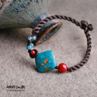 烟雨江南手链蓝色复古特色波西米亚民族风编织云南首饰手饰原创女