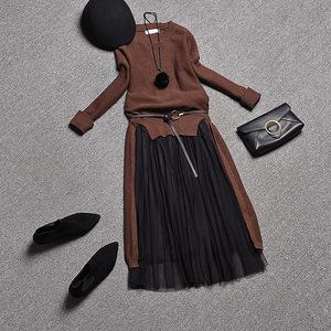 欧洲站女装2017套装秋冬装新款潮欧货时尚两件套中长款针织连衣裙秋冬连衣裙