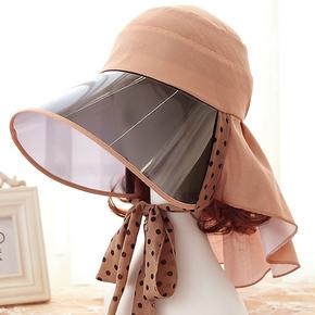 防晒帽子女遮脸夏天遮阳帽 PVC前沿 护脖防紫外线太阳帽旺角16号