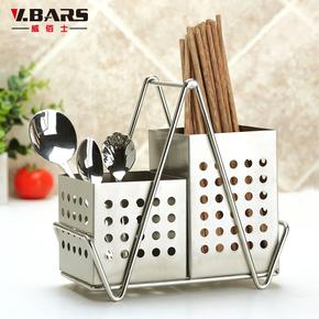 304不锈钢筷子筒筷子笼挂筷盒双筒筷架厨房置物架餐具收纳沥水架
