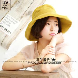 日本外单帽子女夏天 可折叠棉麻布帽 防晒渔夫帽女卷边大檐太阳帽渔夫帽
