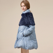 Europe Rex velvet fur splicing station end duck down jacket Girls long paragraph large cape-style ultra-thin skirt