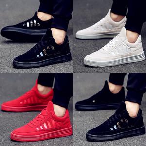 男鞋秋季潮鞋新款韩版男士板鞋厚底百搭运动休闲鞋红色内增高皮鞋皮鞋男