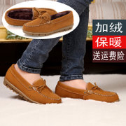 2014 new winter plus veet padded leather shoes shallow mouth round flat matte warm skid driving shoes