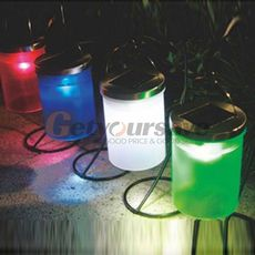 Solar Powered Hanging Cylinder Outdoor Light