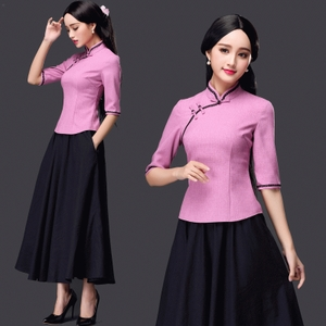 夏装新款女装复古时尚修身长款立领棉麻连衣裙短袖旗袍两件套装裙旗袍长款