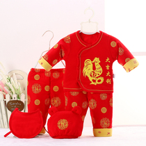Baby baby full moon hundred days of spring and autumn red cotton with five piece of cover