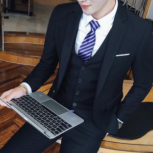 新郎结婚礼服伴郎团西服套装男三件套修身上班正装职业商务西装秋西装