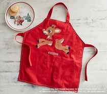 Specials new products beautifully Christmas deer embroidery red apron bib draw for children clothing handmade aprons