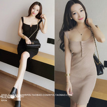 Retro knitting suspender student South Korea slim dress