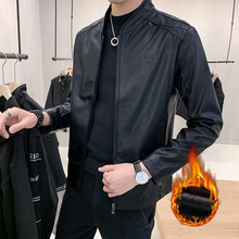Winter Plush casual fit thick Pu jacket leather