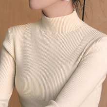 Half high collar, autumn and winter, new black and white, foreign style and knitted sweater