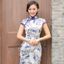 Matchless beauty vintage modified spring summer silk Chinese short cheongsam
