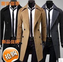 2017 foreign trade hot double row button down slim black coat