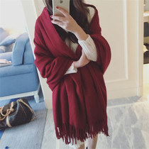 Red cashmere scarf women autumn and winter long padded two-sided wedding bridal shawl cloak of dual-use