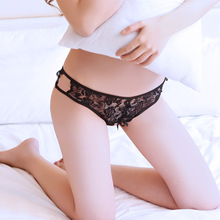 Four-dimensional space sexy underwear bow tie lace thong sexy open T pants female sexy underwear