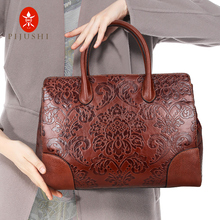 Leather bags 2018 new leather, retro embossed pure leather women's bags, cowhide handbags, middle-aged women