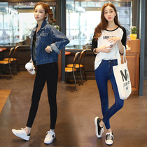 In spring and summer the Korean version of black high waist slim holes in students  feet pants