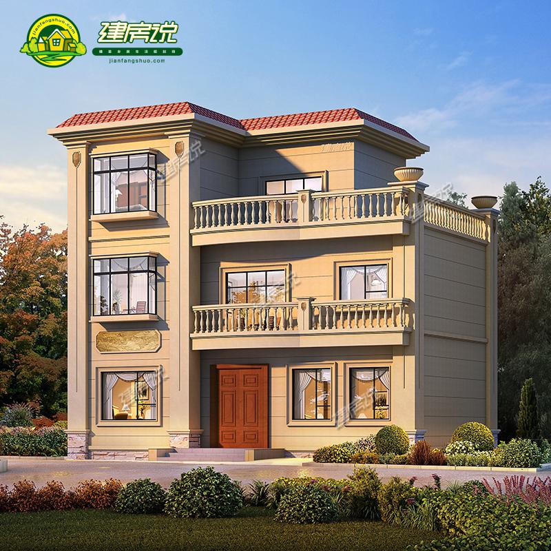 农村自建房别墅设计图纸乡下盖房子二层半欧式别墅图纸三层设计图图片