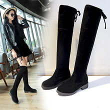 Knee high boots women's 2019 new spring and autumn round head thin elastic boots thick heel Horse Boots net red thin boots