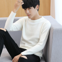 Spring and Autumn Sweaters, Men's Korean Edition, Self-cultivation Trend, White Bottom Blouses, Knitted Sweaters, Pure Colors