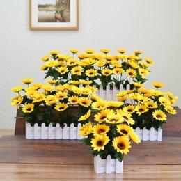 绢花塑料插花束向日葵栅栏假花仿真花艺套装客厅家居装饰品摆设件