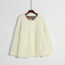 Autumn and winter commute solid color regular buckle fur like wool top