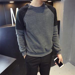 陈邦家▲新款韩版男士修身拼接加绒圆领冬装卫衣男青年套头上衣卫衣男