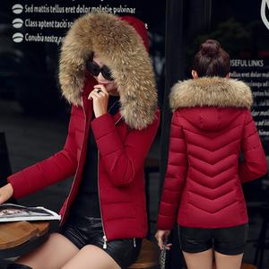 冬季新款大毛领棉衣女短款修身加厚大码羽绒棉服韩版小棉袄外套潮面包服