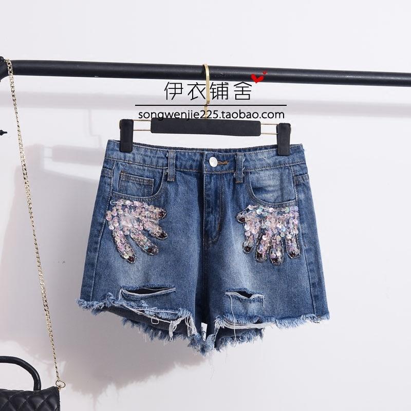 手工钉珠牛仔短裤穿搭|手工钉珠牛仔短裤搭配|手工钉珠牛仔短裤推荐|意思- 淘宝海外