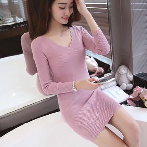 秋冬季新款韩版针织衫修身显瘦中长款套头毛衣女打底衫长袖连衣裙长袖毛衣