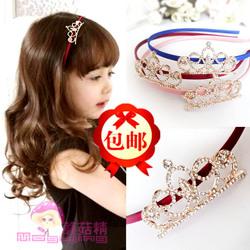 蘑菇精 亲子款公主水钻发箍宝宝皇冠发卡女孩头夹韩国儿童发饰品