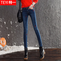 In spring and summer of Korean students in higher waist skinny jeans
