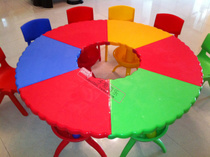 Kindergarten special table fan plastic baby tables take the spell table detachable lift table plastic round childrens table