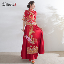 Show Wo clothes 2017 new Dragon coat sleeves toast in the summer clothing slim qipao Chinese wedding dress bridal gown