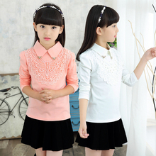 Girls' bottoms spring 2019 new children's long sleeve T-shirt white top special