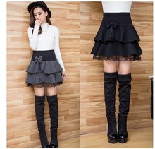 New lace puffed A-line bottomed skirt pleated skirt