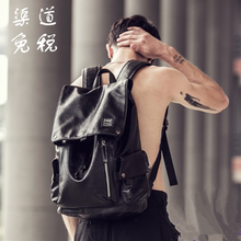 Leather shoulder bag, male minimalist leather leisure bag, computer backpack, large capacity business trip bag boutique