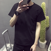 Hong Kong style summer large solid color round neck cotton short sleeve T-shirt for men and women