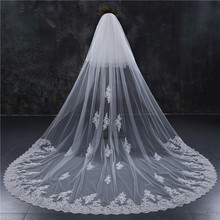 WEI YI new luxury retro long 3 M 4 m 5 m widened tailed white yarn wedding bride yarn accessories