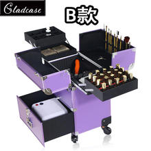 Gladcase embroidery toolbox, manicure bar, beauty makeup, drawer, detachable universal wheel, double open multilayer.