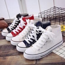 New style flat bottom lace up canvas shoes